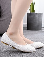 cheap -Women's Wedding Shoes Flat Heel Pointed Toe Vintage Sexy Minimalism Wedding Party & Evening PU Satin Flower Lace Flower Solid Colored White Rainbow