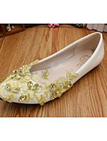cheap -Women's Wedding Shoes Flat Heel Round Toe Sweet Wedding Walking Shoes PU Rhinestone Floral Gold