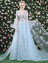 cheap -A-Line Elegant Floral Prom Formal Evening Dress V Neck Long Sleeve Court Train Tulle with Pleats Appliques 2020