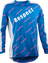 cheap -Men's Long Sleeve Downhill Jersey Winter Blue Stripes Bike Top Mountain Bike MTB Road Bike Cycling Breathable Sports Clothing Apparel / Stretchy / Athletic