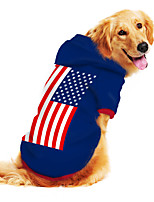 cheap -Dog Hoodie Sweatshirt Print Flag National Flag Fashion Cool Funny Casual / Daily Outdoor Dog Clothes Puppy Clothes Dog Outfits Breathable Blue Costume for Girl and Boy Dog Polyster S M L XL