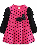 cheap -Little Girls Long Sleeve Dress Polka Dots Casual Dress with Bowknot Red 5T