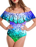 cheap -Women's New Vacation Sexy Monokini Swimsuit Color Block 3D Tummy Control Ruffle Print Bodysuit Normal Off Shoulder Swimwear Bathing Suits Blushing Pink Green / One Piece / Party