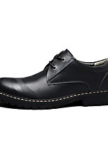 cheap -Men's Oxfords Casual British Daily Office & Career Walking Shoes Leather Breathable Non-slipping Wear Proof Dark Brown Black Gray Color Block Spring Fall