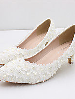 cheap -Women's Wedding Shoes Chunky Heel Pointed Toe Wedding Walking Shoes PU Pearl Floral White