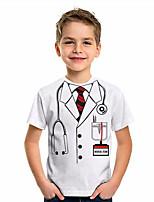 cheap -Kids Boys' T shirt Tee Graphic 3D Print Short Sleeve Active White