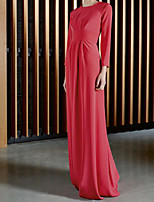 cheap -Sheath / Column Minimalist Elegant Wedding Guest Formal Evening Dress Jewel Neck Long Sleeve Floor Length Chiffon with Pleats 2020