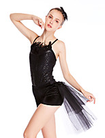 cheap -Latin Dance Ballet Jazz Leotard / Onesie Feathers / Fur Paillette Women's Training Performance Sleeveless Feather Lycra