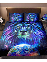 cheap -Lion Print 3-Piece Duvet Cover Set Hotel Bedding Sets Comforter Cover with Soft Lightweight Microfiber, Include 1 Duvet Cover, 2 Pillowcases for Double/Queen/King(1 Pillowcase for Twin/Single)