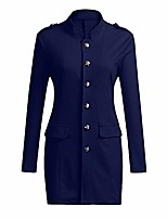 cheap -ladies military blazer slim fit military elegant jackets with button placket military ladies long coat blue, w