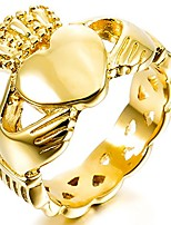 cheap -Stainless Steel Ring Gold Tone Irish Celtic Knot Irish Claddagh Friendship Love Heart Royal King Crown Size N Men