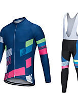cheap -Men's Long Sleeve Cycling Jersey with Tights Winter Elastane Blue Bike Sports Clothing Apparel