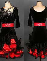 cheap -Latin Dance Dress Glitter Cascading Ruffles Women's Training Performance 3/4 Length Sleeve Natural Satin Velvet