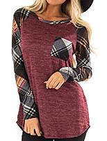 cheap -Women's Long Sleeve T Shirt Checked Tops Splicing Pullover Blouse Causal Tunic S Red