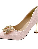 cheap -Women's Sandals Pumps Pointed Toe Casual Daily Walking Shoes Faux Leather Rhinestone Solid Colored White Pink