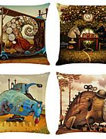 cheap -Cushion Cover 4PCS Linen Soft Decorative Square Throw Pillow Cover Cushion Case Pillowcase for Sofa Bedroom 45 x 45 cm (18 x 18 Inch) Superior Quality Machine Washable