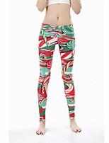 cheap -Women's Stylish Streetwear Breathable Comfort Quick Dry Sport Yoga Leggings Pants Graphic Full Length Print Green