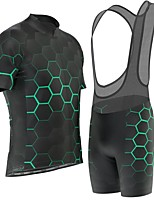 cheap -21Grams Men's Short Sleeve Cycling Jersey with Bib Shorts Black Bike Breathable Sports Graphic Mountain Bike MTB Road Bike Cycling Clothing Apparel / Stretchy / Athleisure