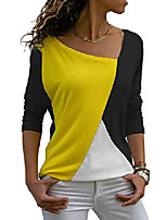 cheap -Women's Summer Casual Patchwork Colour Block Short Sleeve Asymmetrical V-Neck Top Blouse Top - - S