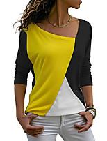 cheap -Women's Summer Casual Patchwork Colour Block Short Sleeve Asymmetrical V-Neck Top Blouse Top - - S