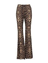 cheap -Womens Leopard Cheetah Flared Bell Bottom Pants – Size Small Brown