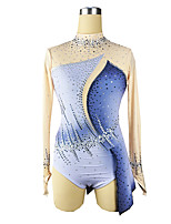 cheap -Figure Skating Dress Women's Girls' Ice Skating Dress Blue Spandex High Elasticity Training Competition Skating Wear Patchwork Crystal / Rhinestone Long Sleeve Ice Skating Figure Skating / Kids