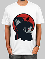 cheap -Inspired by Naruto Akatsuki Uchiha Itachi Cosplay Costume T-shirt Polyester / Cotton Blend Graphic Prints Printing T-shirt For Men's / Women's