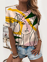 cheap -Women's T shirt Graphic 3D Portrait Print Round Neck Tops Basic Basic Top White