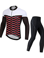 cheap -Men's Long Sleeve Cycling Jersey with Bib Tights Cycling Jersey with Tights Winter Elastane Black / White Bike Sports Clothing Apparel