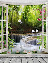 cheap -Window Landscape Wall Tapestry Art Decor Blanket Curtain Hanging Home Bedroom Living Room Decoration Waterfall Crane Flower