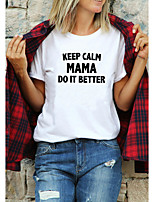 cheap -Women's T shirt Text Letter Print Round Neck Tops 100% Cotton Basic Basic Top White Black Purple