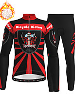 cheap -21Grams Men's Long Sleeve Cycling Jersey with Tights Winter Fleece Polyester Red Skull Christmas Santa Claus Bike Clothing Suit Thermal Warm Fleece Lining Breathable 3D Pad Warm Sports Graphic