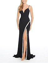 cheap -Sheath / Column Beautiful Back Sexy Engagement Formal Evening Dress V Neck Sleeveless Sweep / Brush Train Spandex with Split 2021