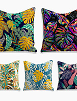 cheap -cushion cover 5pc linen soft decorative square throw pillow cover cushion case pillowcase for sofa bedroom 45 x 45 cm (18 x 18 inch) superior quality machine washable plant jungle