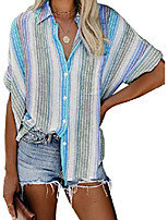 cheap -Womens Button Down Shirt Ladies Work Summer Short Sleeve Tunic Blouse and Tops Plus Size X-Large Sky Blue