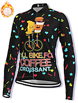 cheap -21Grams Women's Long Sleeve Cycling Jacket Winter Fleece Spandex Black Bike Jacket Mountain Bike MTB Road Bike Cycling Fleece Lining Warm Sports Clothing Apparel / Stretchy / Athleisure