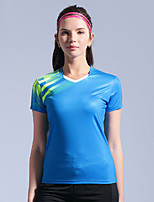 cheap -Women's Tennis Badminton Table Tennis Tee Tshirt Short Sleeve Breathable Quick Dry Moisture Wicking Sports Outdoor Autumn / Fall Spring Summer Red Blue Green / High Elasticity
