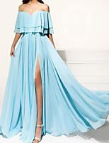 cheap -A-Line Empire Elegant Wedding Guest Formal Evening Dress Off Shoulder Sleeveless Floor Length Chiffon with Pleats Ruffles Split 2020