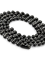 cheap -3.2mm Large Stainless Steel Ball Pearl Necklace Chain Link Man Black, Length 66cm