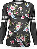 cheap -Women's Long Sleeve Downhill Jersey Winter Black Stripes Floral Botanical Bike Top Mountain Bike MTB Road Bike Cycling Breathable Quick Dry Sports Clothing Apparel / Stretchy / Athleisure