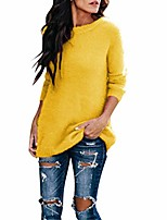 cheap -women pullover sweater jumper winter casual plus size solid round collar plush long sleeve knitwear tops blouse yellow