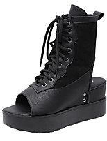 cheap -Women's Boots Wedge Heel Peep Toe Booties Ankle Boots Classic Daily PU Solid Colored Black / Booties / Ankle Boots