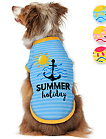 cheap -Dog Shirt / T-Shirt Print Summer Holiday Adorable Cute Casual / Daily Dog Clothes Puppy Clothes Dog Outfits Breathable Yellow Blue Pink Costume for Girl and Boy Dog Polyster S M L XL