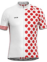 cheap -21Grams Men's Short Sleeve Cycling Jersey White Black Polka Dot Bike Top Mountain Bike MTB Road Bike Cycling Breathable Sports Clothing Apparel / Stretchy / Athletic