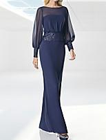 cheap -Sheath / Column Glittering Minimalist Wedding Guest Formal Evening Dress Illusion Neck Long Sleeve Floor Length Chiffon Sequined with Sequin 2021