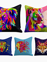 cheap -cushion cover 5pc linen soft decorative square throw pillow cover cushion case pillowcase for sofa bedroom 45 x 45 cm (18 x 18 inch) superior quality machine washable animal