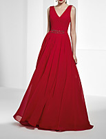cheap -A-Line Beautiful Back Sexy Wedding Guest Formal Evening Dress V Neck Sleeveless Floor Length Chiffon with Pleats 2020