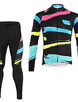 cheap -Men's Long Sleeve Cycling Jersey with Tights Winter Elastane Black Bike Sports Clothing Apparel