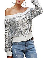 cheap -Women's Jacket Sports Sporty Sequins Fall Jacket Regular Causal Long Sleeve Polyester Coat Tops Silver