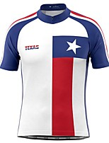 cheap -21Grams Men's Short Sleeve Cycling Jersey White Stars Bike Top Mountain Bike MTB Road Bike Cycling Breathable Sports Clothing Apparel / Stretchy / Athletic